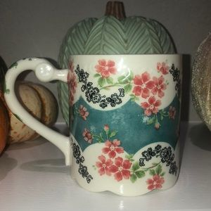 Anthropologie Floral Scalloped Coffee Mug